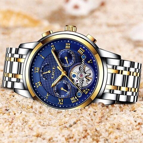 LIGE Top Brand Luxury Mens Watches Automatic Mechanical Watch Men Full Steel Business Waterproof Sport Watches Relogio Masculino Multan