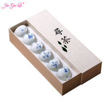 Jia-gui luo 6 pieces of white ceramic hand-painted kungfu tea gift box packaging