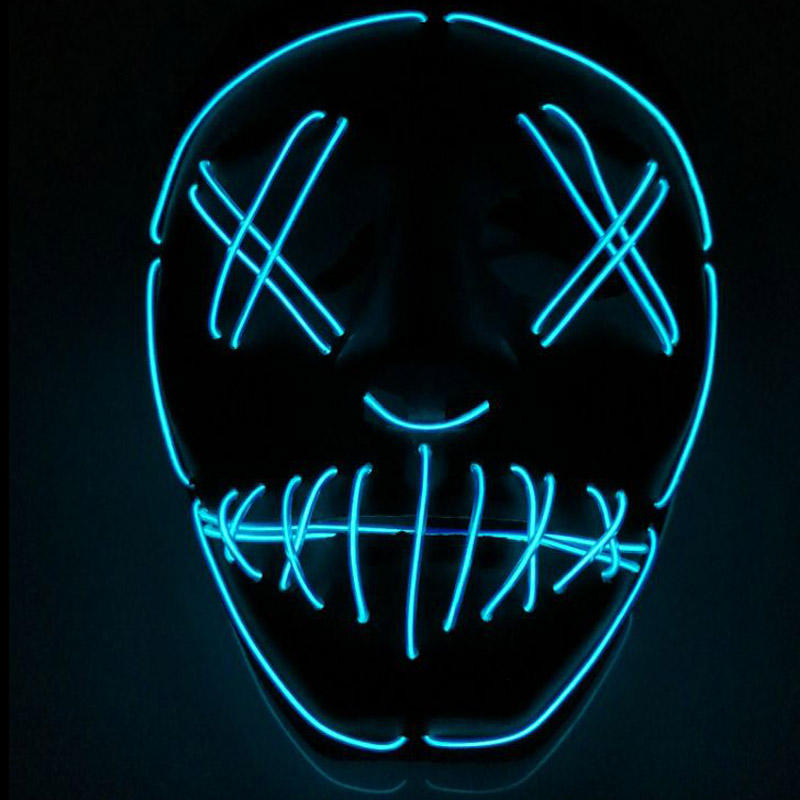 Halloween ghost Slit mouth light up glowing EL wire Cute mask ...