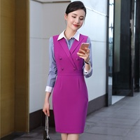 Fashion Autumn Slim Formal OL Styles Dress Suits Professional Business Women With Striped Blouses And Dress