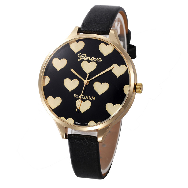 Watch Female Hour Fashion Heart Pattern Women Watches PU Leather Quartz Watch Montre Femme Ladies Watch relogio feminino цена 2017