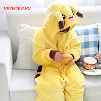 VEVEFHUANG Winter New Flannel Pyjamas Baby Girl Pyjama Set Pikachu Cosplay Hooded Christmas Pijama Infantil Kids