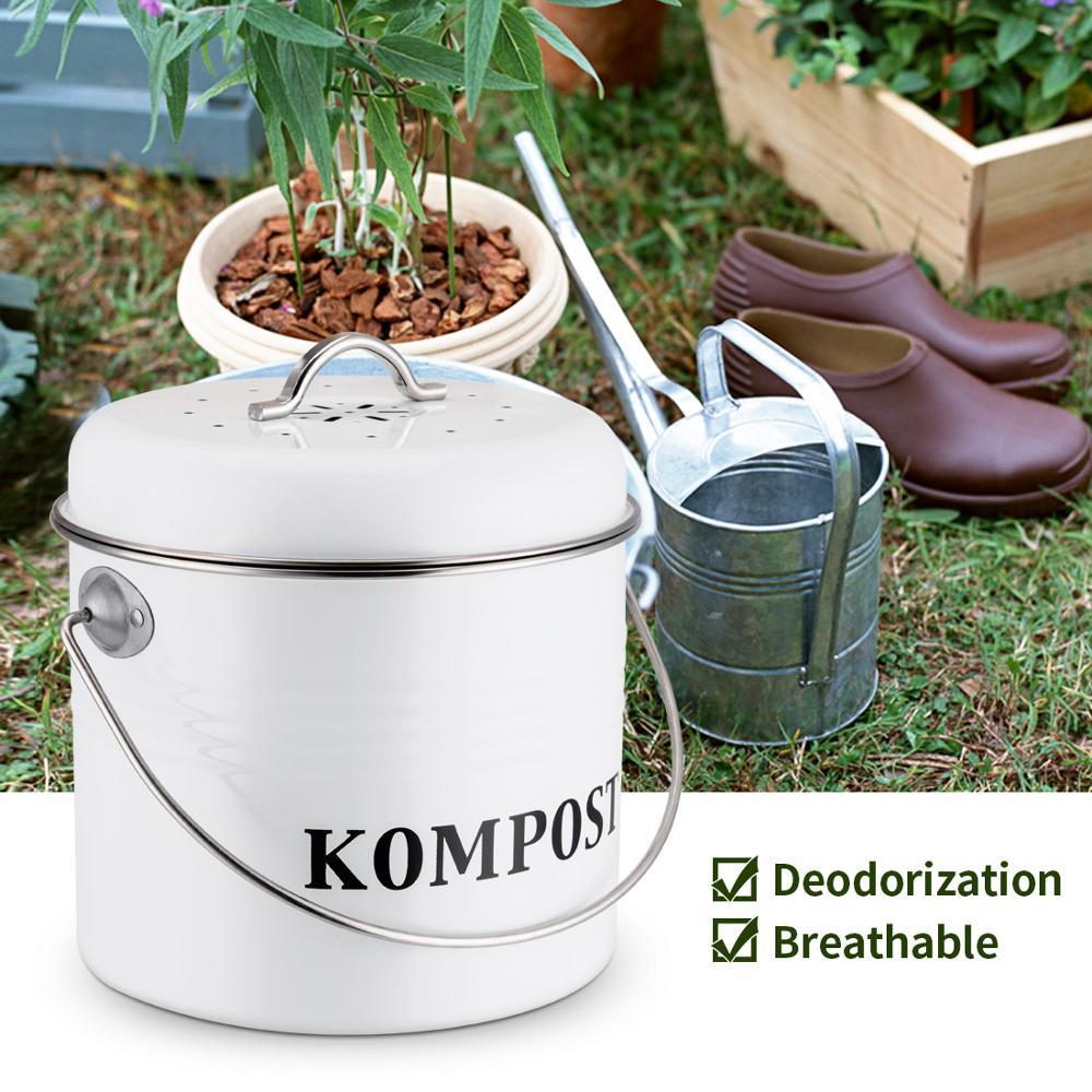 Кухонный компостный контейнер 5л органический домашний мусорный бак дыни листья железная круглая угольная фильтровальный стакан DIY садовы...