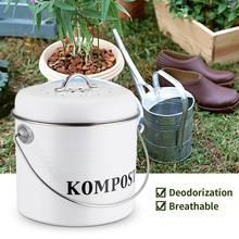Composto de cozinha lixeira 5l, orgânico, lata de lixo caseira, folhas, ferro, redondo, filtro de carvão, balde, diy, fertilizante de jardim