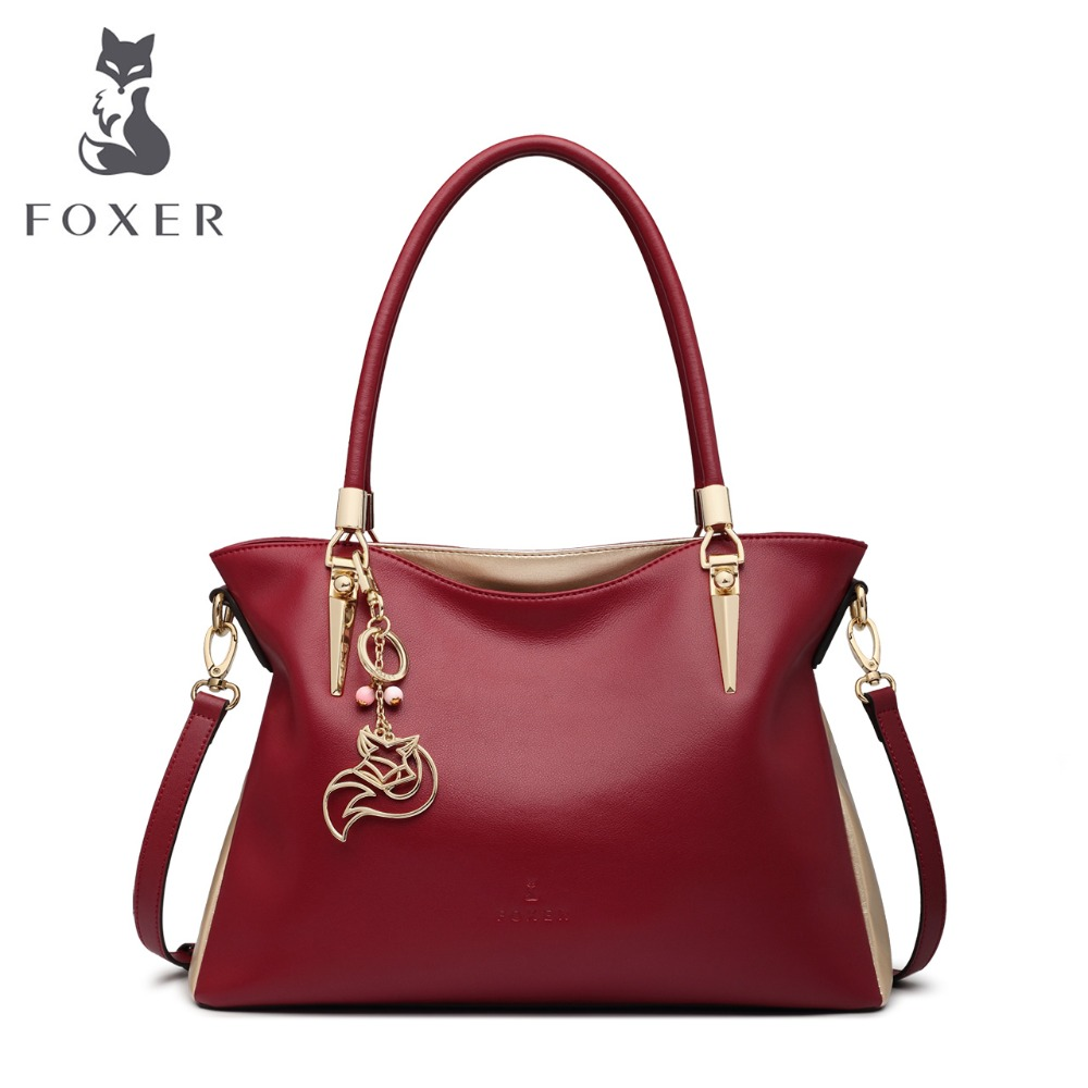 FOXER Women Genuine Leather Handbag Shoulder Bags Fashion Solid Multi Colorful Female Cowhide Tote bag Messenger