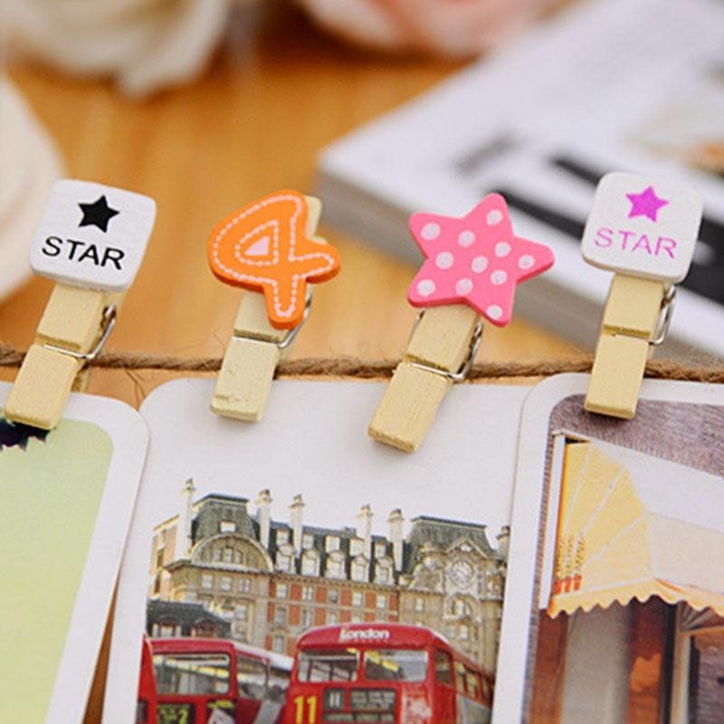 Diy memo decoration wooden clothes photo hanger paper peg for Decoration clips
