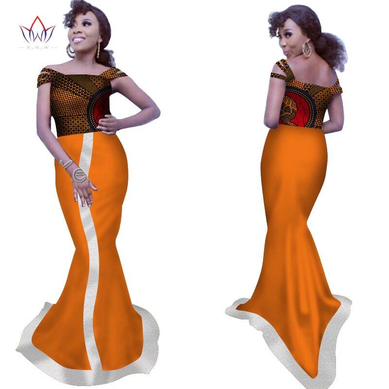 Nouveau été africain imprimer longue robe pour les femmes Bazin riches conceptions personnalisées dentelle Patchwork robe traditionnelle africaine vêtements WY2911