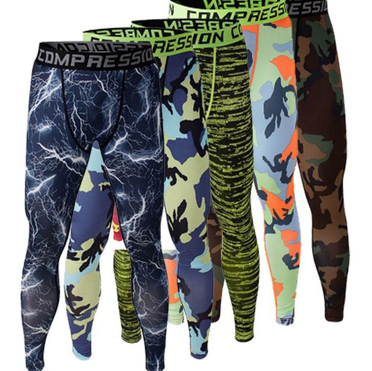 2016 Men Compression Pants Tights Casual Bodybuilding Mans Trousers Brand Camouflage Army Green Skin Leggings Vary