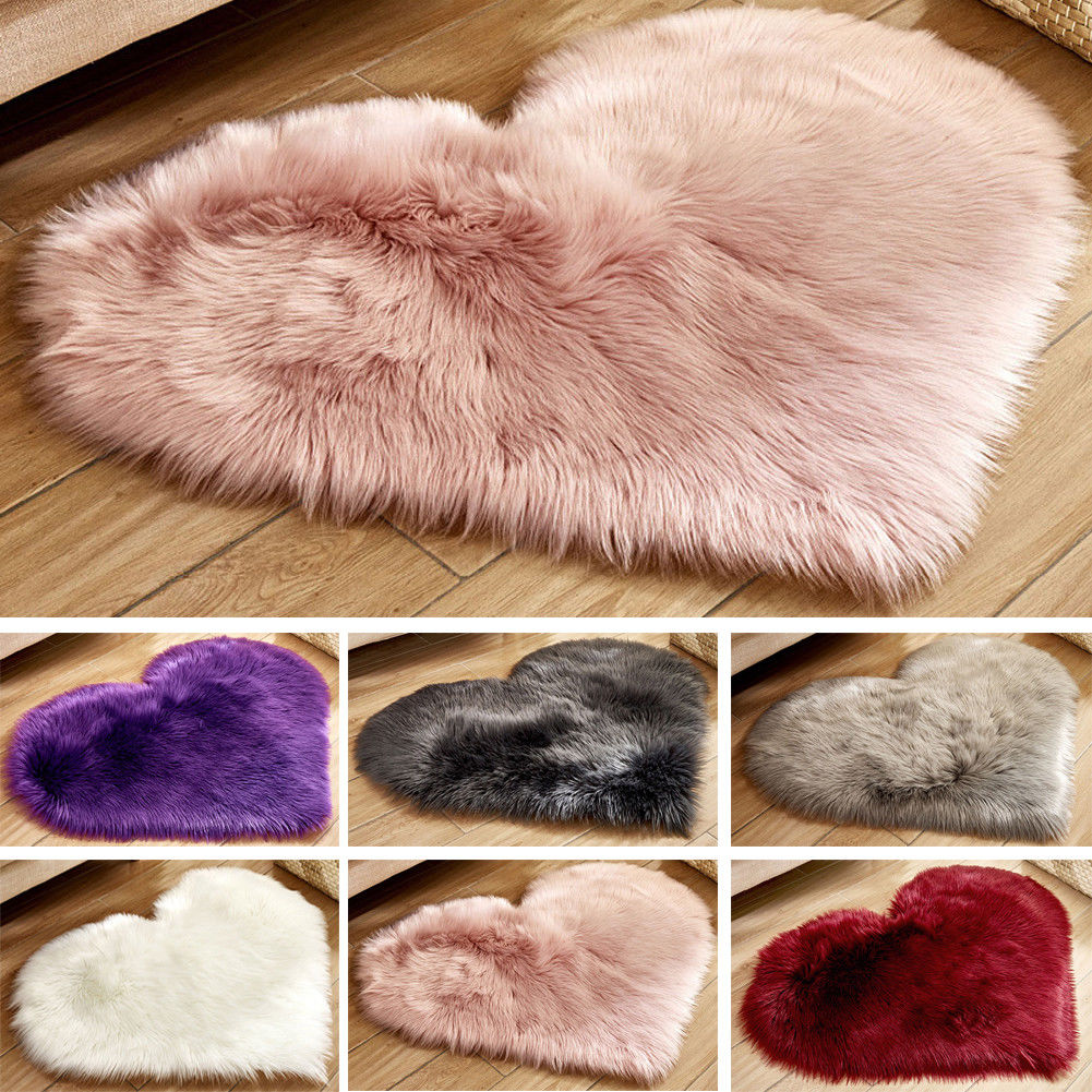 Fluffy Heart Shaped Rug Shaggy Floor Soft Faux Fur Home Bedroom Hairy Carpet Rugs