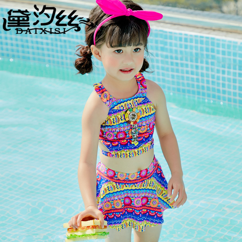 Kids Swimwear For Girls Junior Swimsuit Summer Bathing Suits 2018 New Children Printing Split Bikinis Print Polyester Sierra