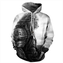 Cool Black Lion Head Human Body 3D Print Hoodies Men/Women Hip Hop Streetwear Pullover Hood Sweatshirts 2018 Boys Gray Jacket