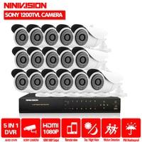 HD 16 каналов 1080 P AHD видеорегистратор комплект видеонаблюдения камеры безопасности Крытый 1MP 1200TVL CCTV Системы 16CH DVR системы