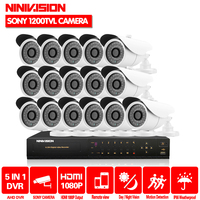 HD 16channel 1080p AHD DVR kit Video surveillance camera Security outdoor Indoor 1MP 1200TVL CCTV System 16CH DVR system