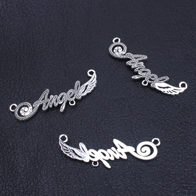 10pcs Tibetan Silver Angel Wing Connector Metal Finding Accessories For Jewelry Making Bracelets Necklace Maker Charm