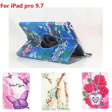 360 Degree Rotating Leather Case Cover For iPad Pro 9.7 Smart with Colorful Painting Cover for iPad Pro for ipad air 3 9.7 Case