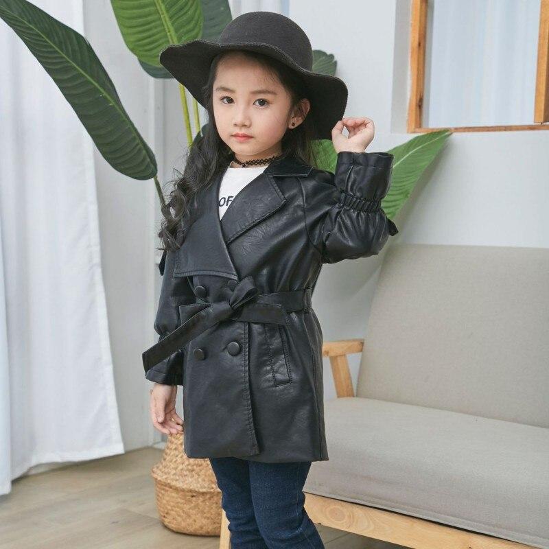 Girls Leather Coat 2018 Autumn New Belt PU Outwear Kids Long Trench Suit Collar Fashion Windbreaker Child Jacket for G недорго, оригинальная цена