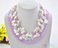 FREE SHIPPING>>>@@ > 0222 white coin freshwater pearl blue lavender jade necklace