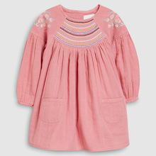 Kids Baby Girls Clothes Dress Pockets Long Sleeve