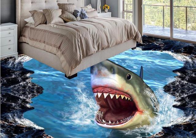 Extremely Aliexpress.com : 3d boden shark mural tapete 3d bodenbelag  YE33