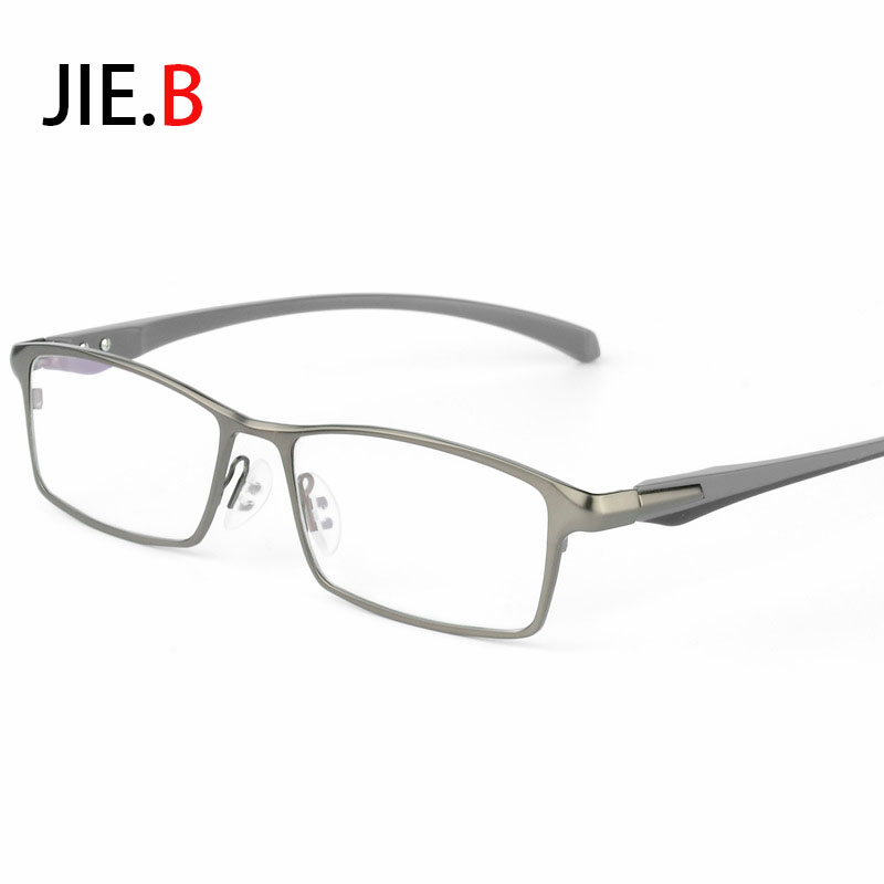 JIE.B Men's Business Metal Alloy Optical Glasses Frame Brand Design Myopia Prescription Eyeglasses Gafas silver black gray