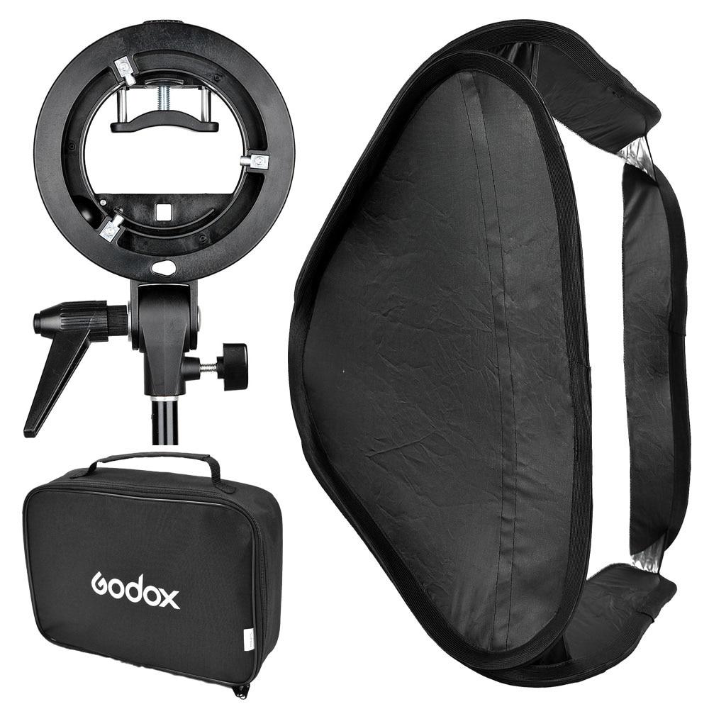 Godox S Type Speedlite Bracket Comet Mount Holder + 50 x 50cm Softbox for Studio Photography Flash Diffuser