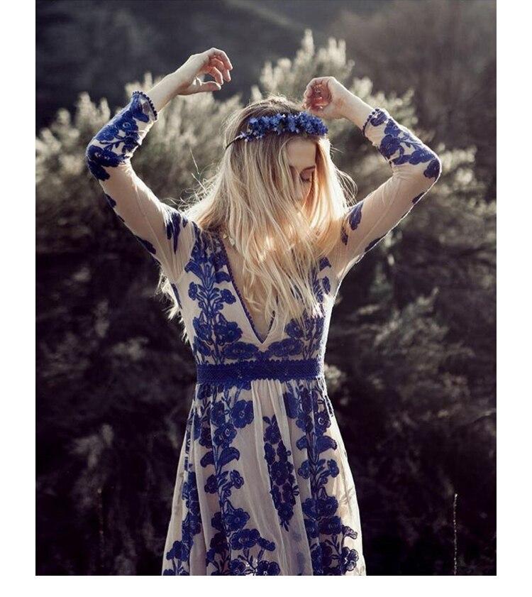 Maxi Floral À Longues Dentelle D'été V Robe Robes Bleu Plage Imprimer Cou Parole Profonde Mince Élégante Bohème Longueur rouge Manches 8nqar708x