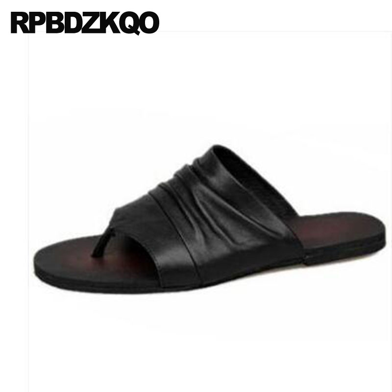 a386fffab Flip Flop Shoes White Designer Men Sandals Leather Summer Italian Brown  Water Slides Slippers Flat Fashion Slip On Black Strap