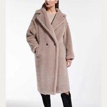 Лидер продаж, женские шерстяные пальто, длинные, Шерсть альпака размера плюс, пальто, зимняя свободная кашемировая верхняя одежда, толстая и теплая