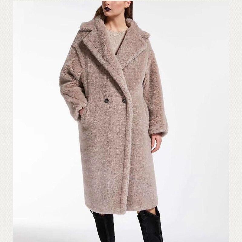 Hot SellersWomen'S laine manteaux Long 100% alpaga laine grande taille pardessus 2019 hiver en vrac cachemire vêtements de dessus épais et chaud