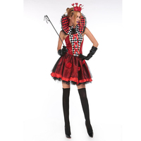 Free Shipping Red Heart Queen Of Spades Short Dress Sexy Appeal HALLOWEEN The Carnival Party Costumes