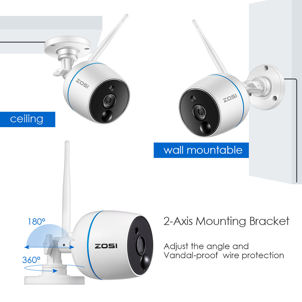 ZOSI 1080p 4CH Mini NVR 2 HD 2MP Outdoor WiFi IP Wireless Security Camera System