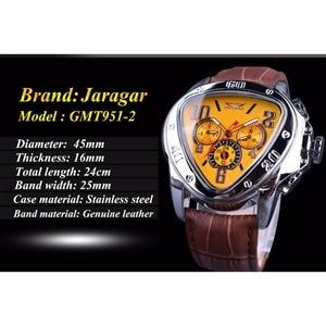 Image 3 - Jaragar Sport Mode Design Geometrische Dreieck Fall Braun Lederband 3 Zifferblatt Männer Uhr Top Marke Luxus Automatische Uhr Uhr