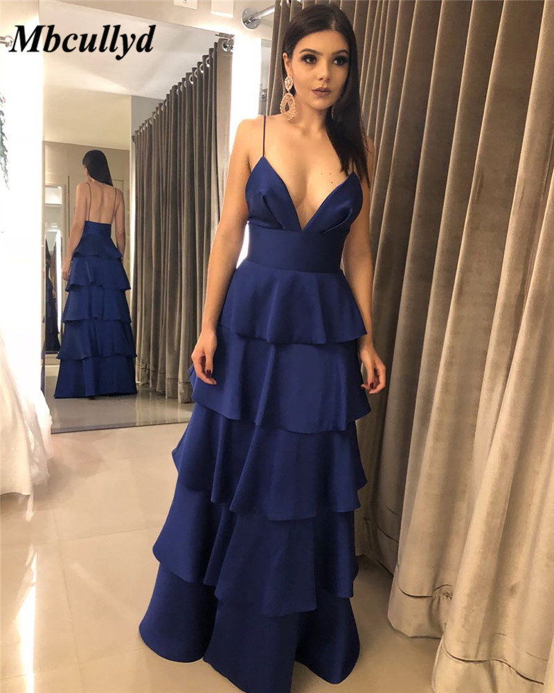 Mbcullyd Tiered Satin   Prom     Dress   2019 New Sexy V-neck Evening   Dress   For Women Cheap Plus Size Formal Backless Robe de soiree
