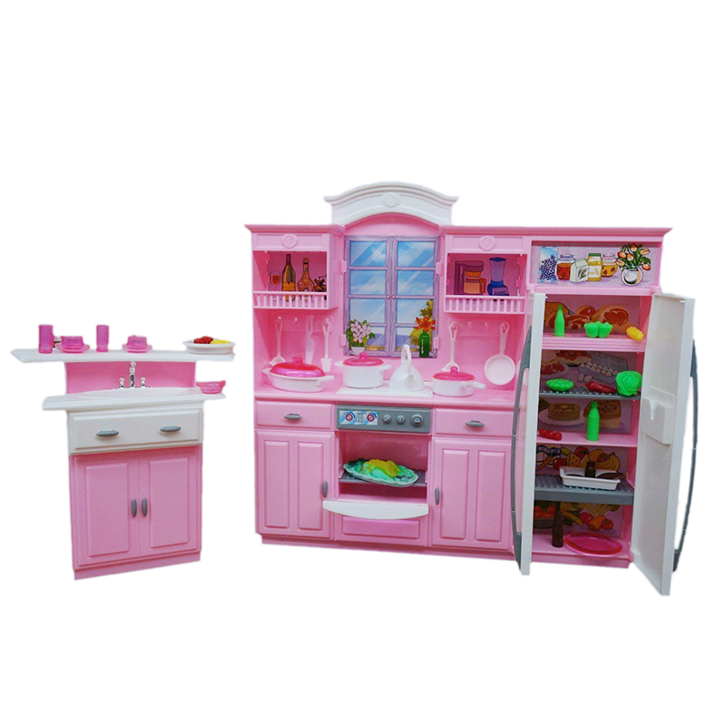 For Barbie Dollhouse Integrated Kitchen Miniature Cookroom Play Set With Kitchenware Drinks Fruits 1/6 Doll Accessories Kids Toy