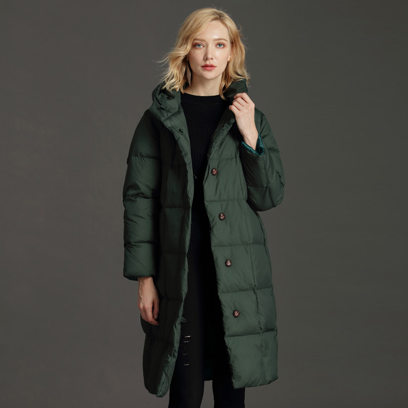 ad3876d68 YNZZU New Women Winter Fashion Down Coat Extra Long Thick Warm Black ...