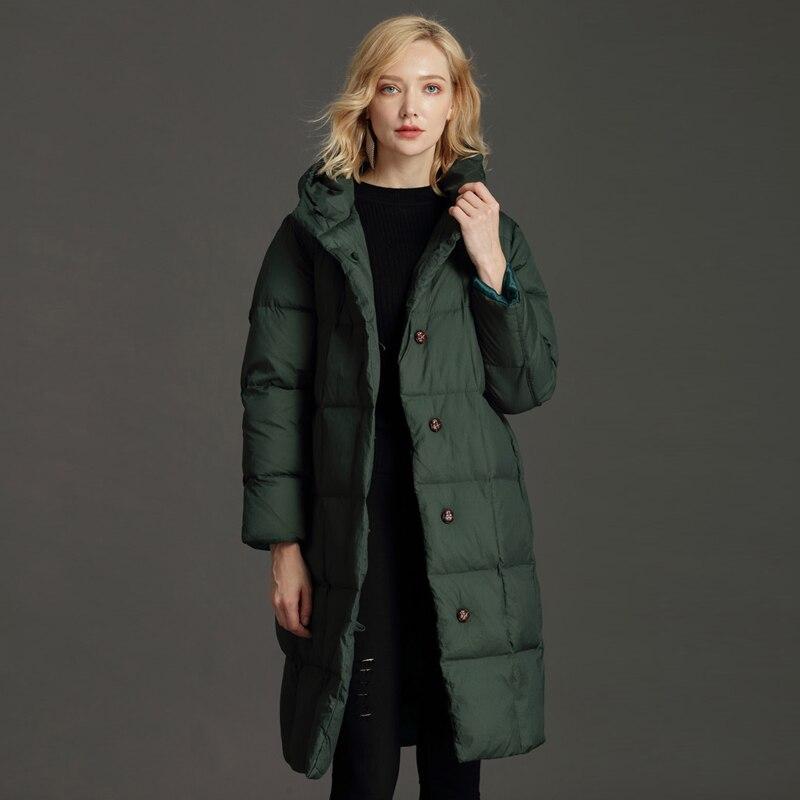 YNZZU Elegant 2018 Winter Jackets Women Fluffy Duck Down Coat Women Vintage Long Warm Hooded Loose Snow Outwear Plus Size O761