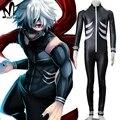 Hot Anime Halloween costumes Tokyo Ghoul Ken Kaneki Cosplay Costume cosplay Kaneki Ken jumpsuit black fancy battle suit