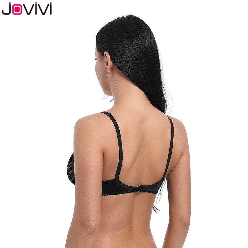 Jovivi Latest 1pc Women's Sexy Thin Lace Bra Mesh Delicate Underwire Unlined Demi Bra 1/2 Cup Bras Black Ladies Sexy Summer Bra