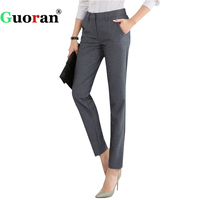 Guoran High Quality Women Formal Office Work Pants Black Grey Business Suit Trousers Plus Size