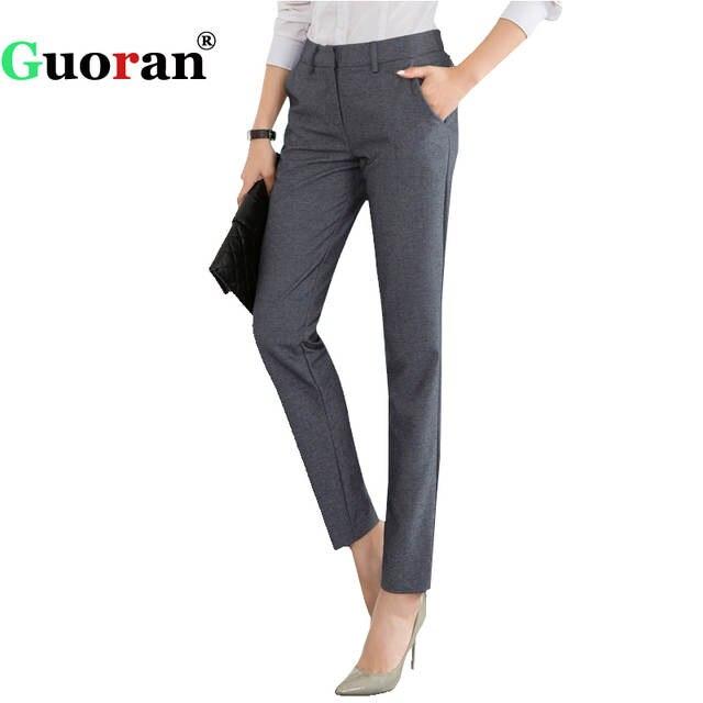 1db1556407e High Quality Women Formal Office Work Pants Black Grey Business Suit Trousers  Plus Size 4xl Ladies