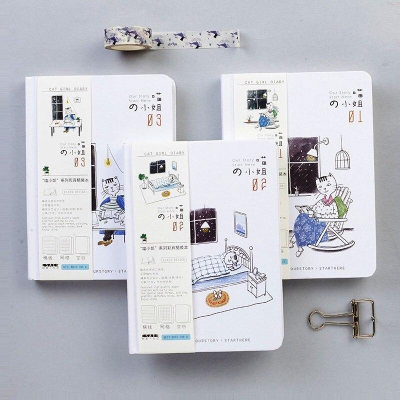 Cat Girl Cute Beautiful Journal Study Notebook Pocket Notepad Hard Cover