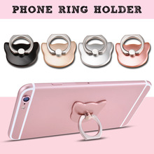 Etmakit 360 Degree Finger Ring Cat Head Ring Cartoon Mobile Phone Smartphone Stand Holder For all Smart Phone Luxury Models