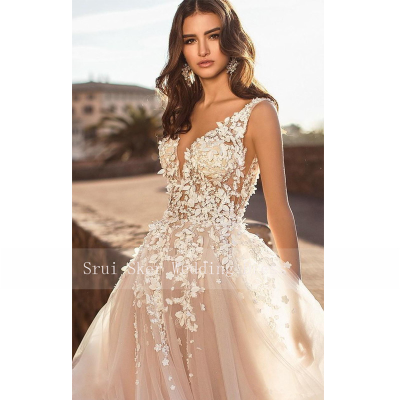 Image 3 - Marvelous champagne V Neck Wedding Dresses 3D Floral Appliqued Lace Bridal Gowns Tulle vestido de novia Plus size-in Wedding Dresses from Weddings & Events
