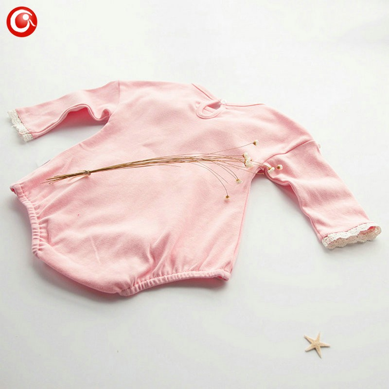 2016 Casual Pink Baby Bodysuit With Lace Princess Newborn Girls Cotton Long Sleeve Body Clothes Infant Underwear For Christmas (4)