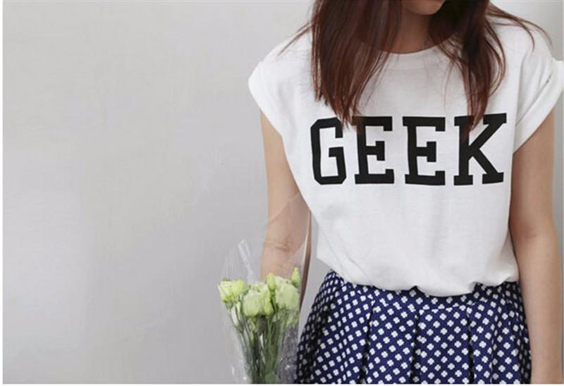 HTB1u53aKXXXXXcZXXXXq6xXFXXXY - Summer Style Geek Letter Print T Shirt Women