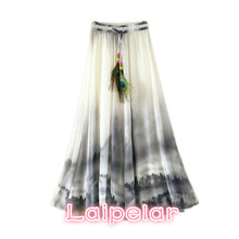 Vintage Maxi Skirts Women Solid Boho Chiffon Saia Longa Summer Vestidos Tulle Casual Bohemian Long Skirts Woman Clothing