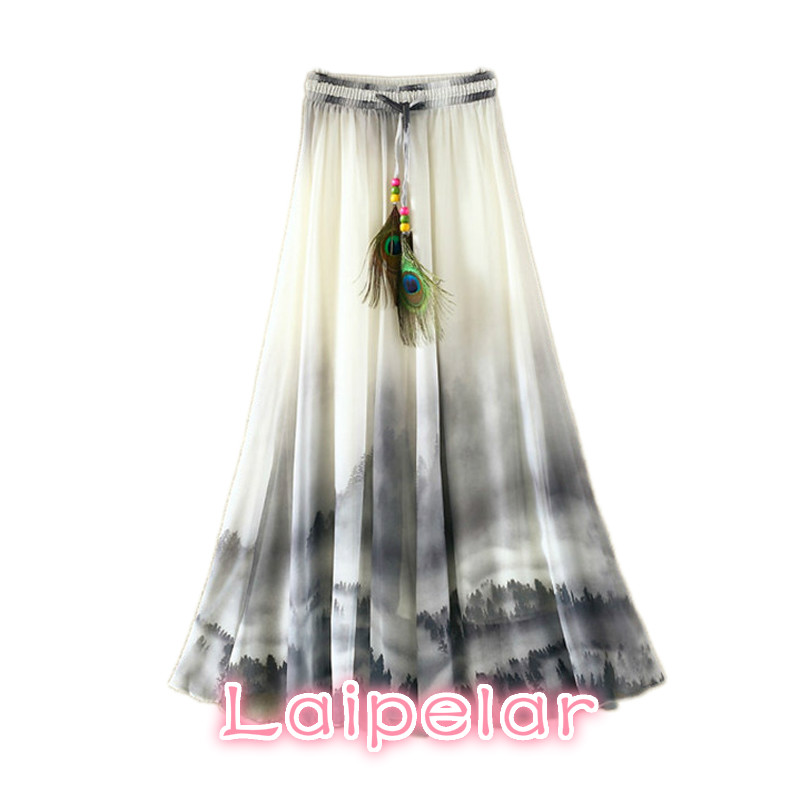 100% high quality better good service Vintage Maxi Skirts Women Solid Boho Chiffon Saia Longa Summer ...