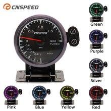 CNSPEED 60 ミリメートル 7 色 LED 12V バーターボ · ブーストゲージメーターセンサーポッドユニバーサルホンダ車のブーストターボメーター自動ゲージ