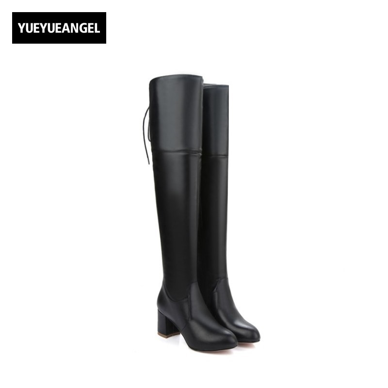 New Hot Sale Women Shoes Comfortable Patent Leather Side Zipper For Women Over The Knee Boots Pointe Toe Square Heel Boots Black hot sale hot sale car seat belts certificate of design patent seat belt for pregnant women care belly belt drive maternity saf