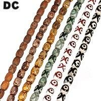 DC 20 pcs/lot Tibet Créé Perles Eye Motif Lâche Spacer Charme Perles 13*18mm 6 Couleur Pour Le BRICOLAGE Bracelet Collier Conclusions F5411